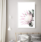 Pink King Protea Art Print in a White Frame In a Bedroom
