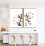 Set of 2 - Pink Protea  & No.2 Photographic Wall Art Print or Poster By The Paper Tree.