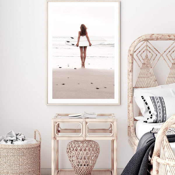 The Girl With The Surf Board Photographic Wall Art Print or Poster By The Paper Tree.