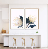 Set Of Two Yellow Protea Art Prints In Timber Frames In a Kitchen Dining Room