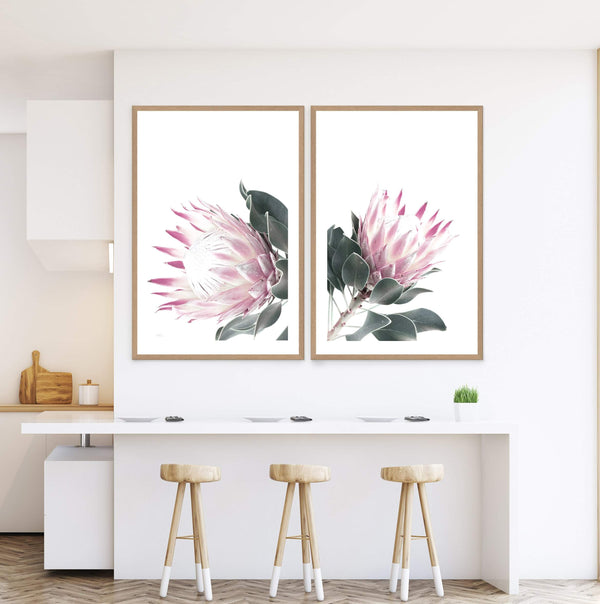Set of 2 - Dusty Pink Protea  & No.2 Photographic Wall Art Print or Poster By The Paper Tree.