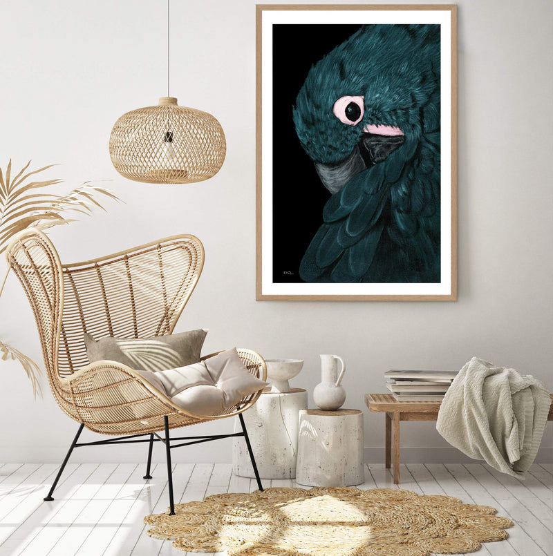 Reproduction Art Print Of A Painted Macaw In A Timber Frame In A Lounge Room