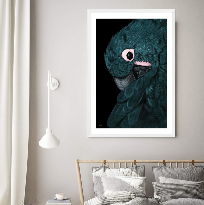 Reproduction Art Print Of A Painted Macaw In A White Frame In A Bedroom