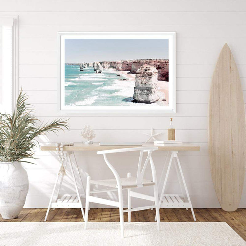 Coastal Art Print Of The Australian Landmark The Great Ocean Road & The Twelve Apostles Framed In A White Timber Frame In A Coastal Study