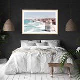 Coastal Art Print Of The Australian Landmark The Great Ocean Road & The Twelve Apostles Framed In A Natural Timber Frame In A Bedroom
