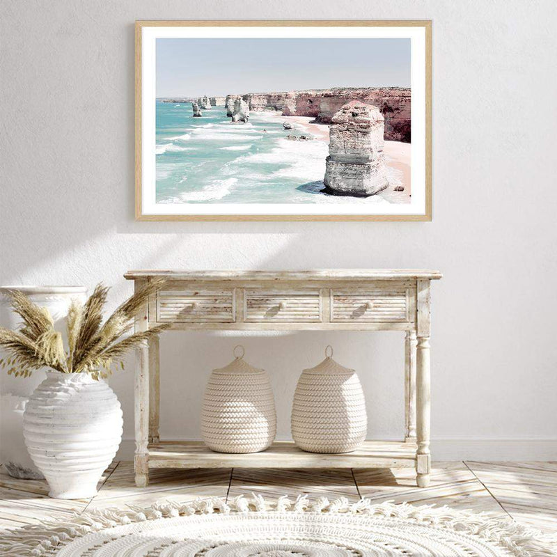 Coastal Art Print Of The Australian Landmark The Great Ocean Road & The Twelve Apostles Framed In A Natural Timber Frame Above A Hall Table