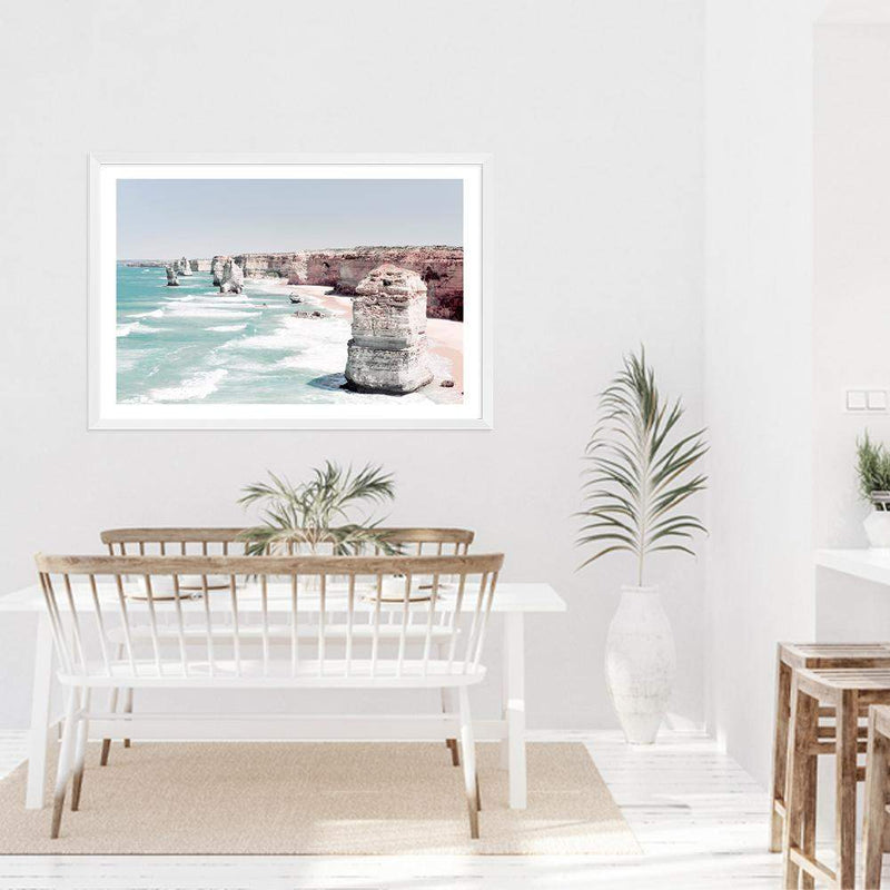 Coastal Art Print Of The Australian Landmark The Great Ocean Road & The Twelve Apostles Framed In A White Timber Frame In A Dining Room