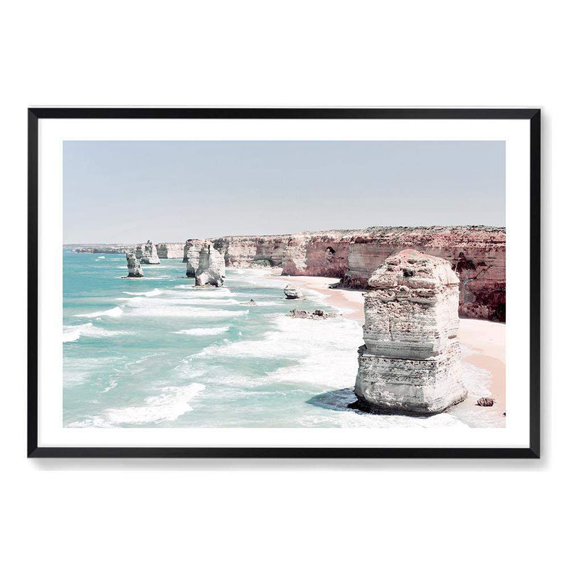 Coastal Art Print Of The Australian Landmark The Great Ocean Road & The Twelve Apostles Framed In A Black Timber Frame