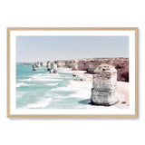 Coastal Art Print Of The Australian Landmark The Great Ocean Road & The Twelve Apostles Framed In A Natural Timber Frame