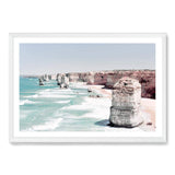 Coastal Art Print Of The Australian Landmark The Great Ocean Road & The Twelve Apostles Framed In A White Timber Frame