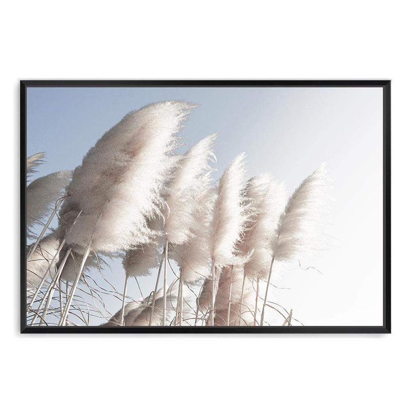 coastal art print featuring a photographed print of tall pampas grass with a neutral beach feel with a black frame
