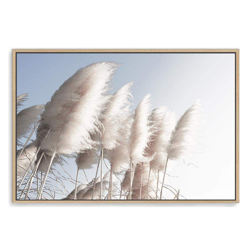 coastal art print featuring a photographed print of tall pampas grass with a neutral beach feel with a timber frame