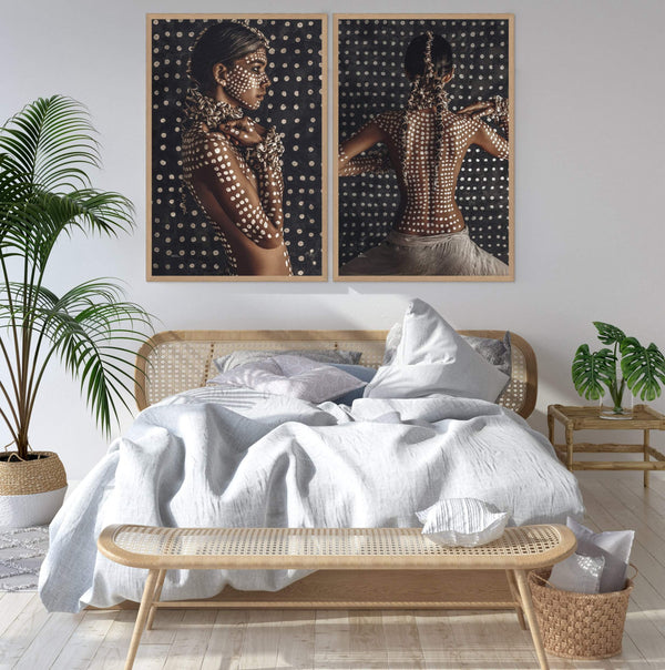 Set of 2 - Boho Tribal Woman  & Tribal Woman Photographic Wall Art Print or Poster By The Paper Tree.