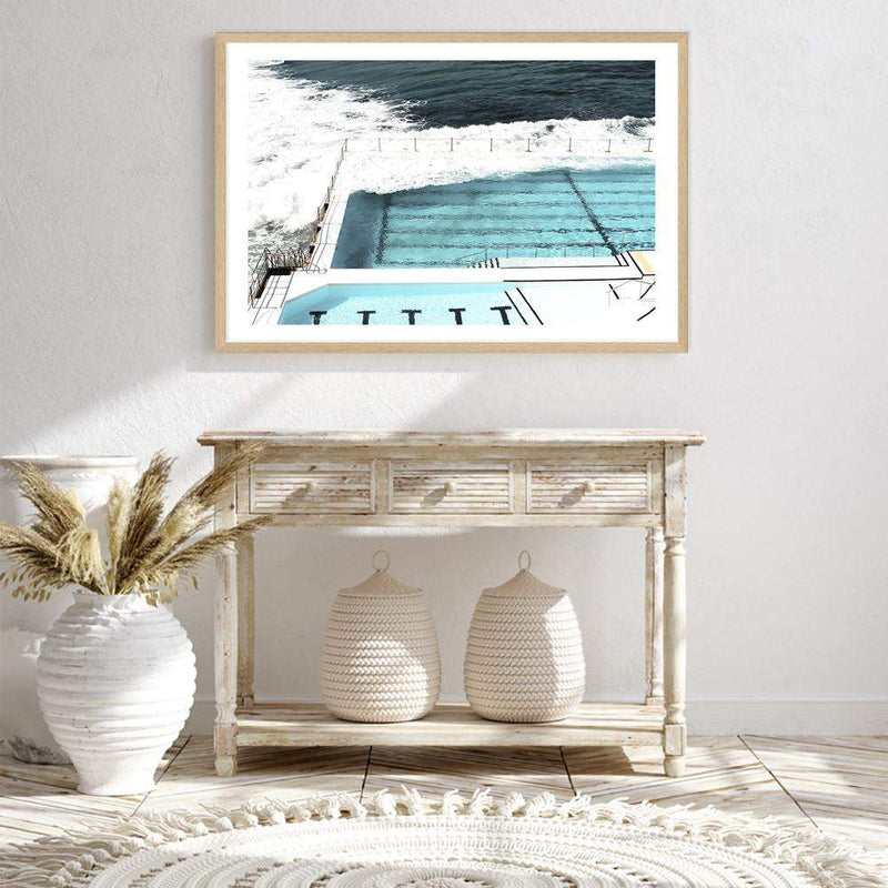 Photographed Print Of The Famous Australian Bondi Beach Ocean Pool In A Natural Timber Frame Above A Hall Table
