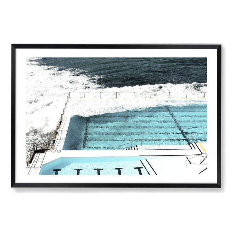 Photographed Print Of The Famous Australian Bondi Beach Ocean Pool In A Black Timber Frame