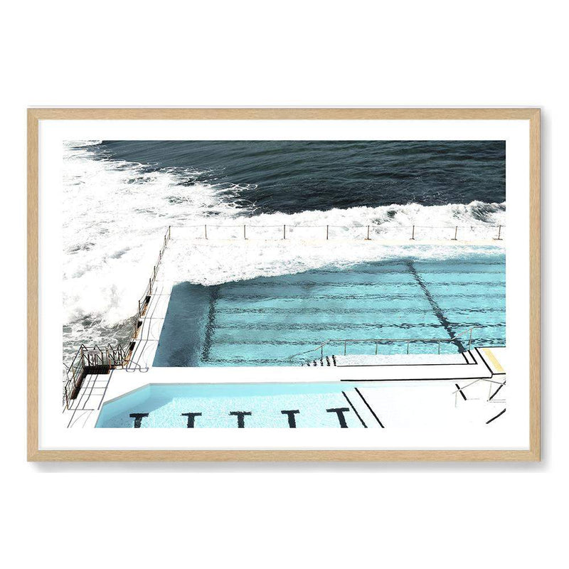Photographed Print Of The Famous Australian Bondi Beach Ocean Pool In A Natural Timber Frame