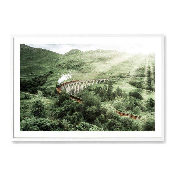 Steam Train On The Glenfinnan Viaduct Photographic Wall Art Print or Poster By The Paper Tree.
