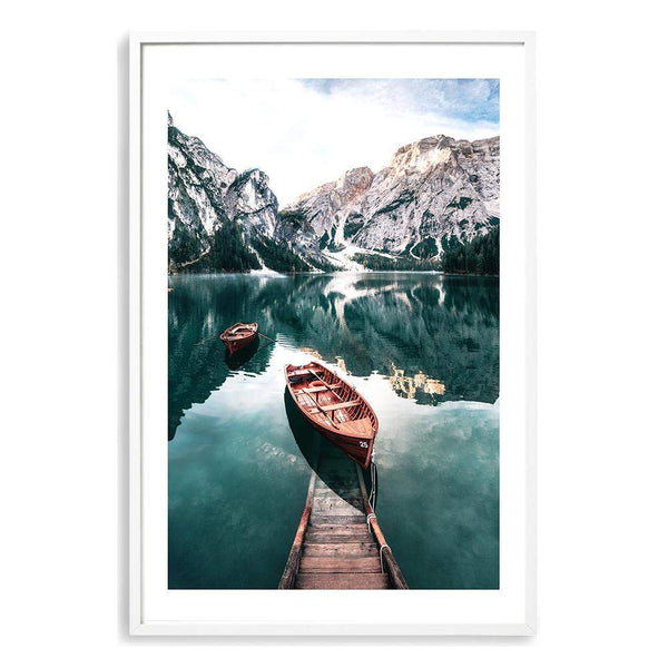 Boats In Braies Lake Photographic Wall Art Print or Poster By The Paper Tree.