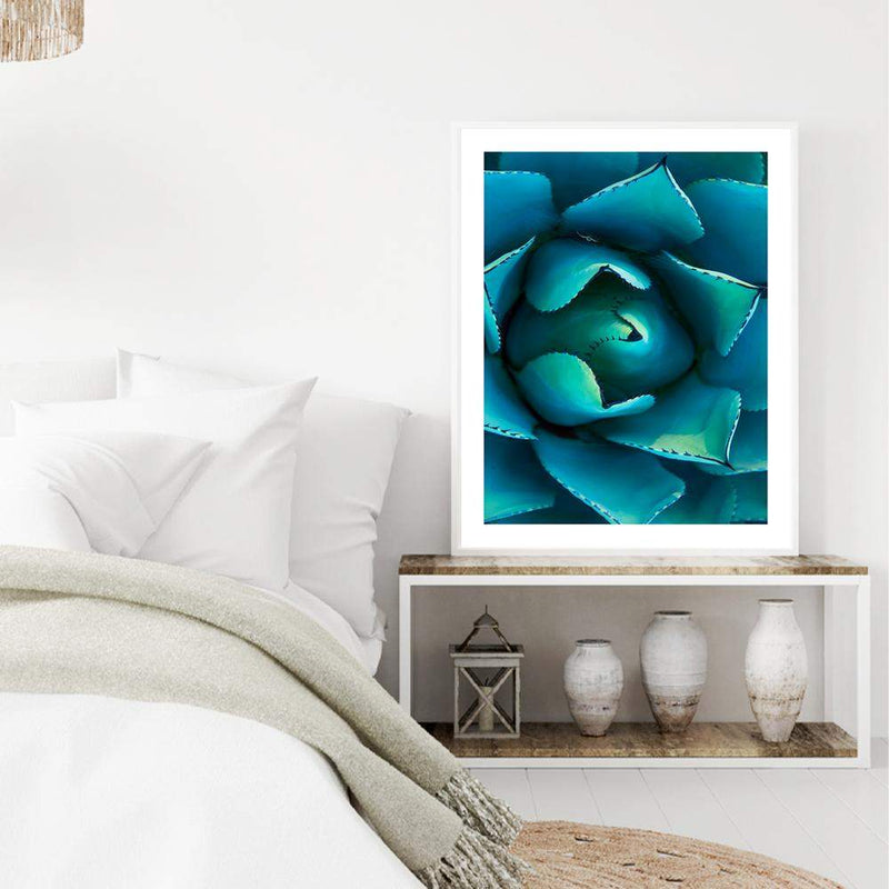 Teal Succulent Art Print No.1