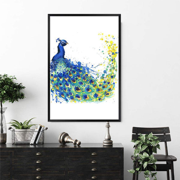 Watercolour Peacock Photographic Wall Art Print or Poster By The Paper Tree.