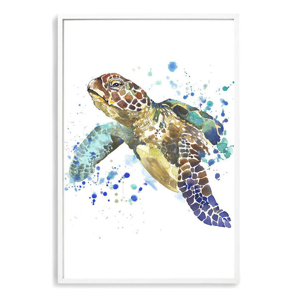 Watercolour Turtle Photographic Wall Art Print or Poster By The Paper Tree.