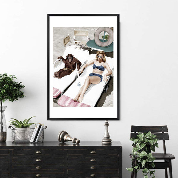 Vintage Sunbathers Photographic Wall Art Print or Poster By The Paper Tree.