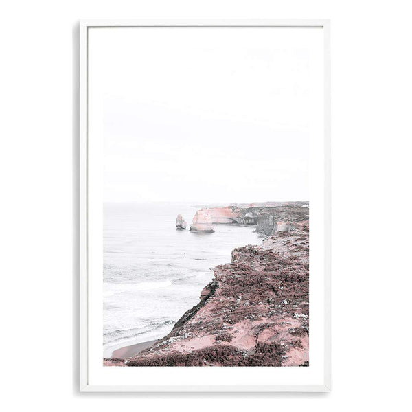 Coastal Art Print Of Australia Great Ocean Road Featuring The Twelve Apostles In A White Timber Frame