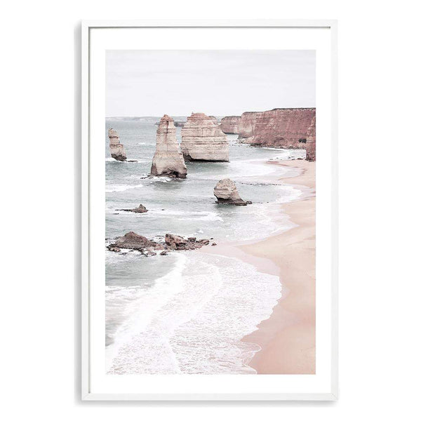 Photographed Coastal Art Print Of The Great Ocean Road & The Twelve Apostles In A Soft Pastel Hue Displayed In A White Frame