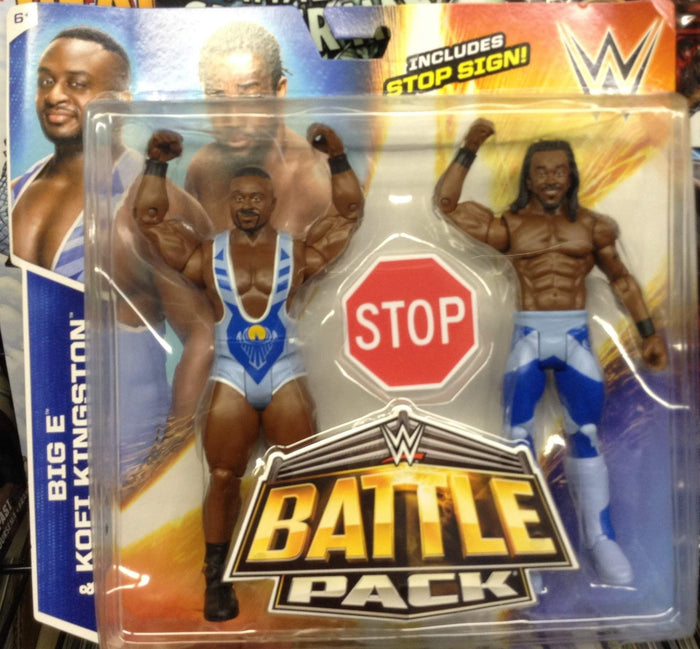 WWE Battle Pack Series #36 Big E / Kofi Kingston with stop sign