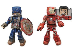 Marvel Minimates Series 67 Battle-Damaged Captain America and Battle-Damaged Iron Man