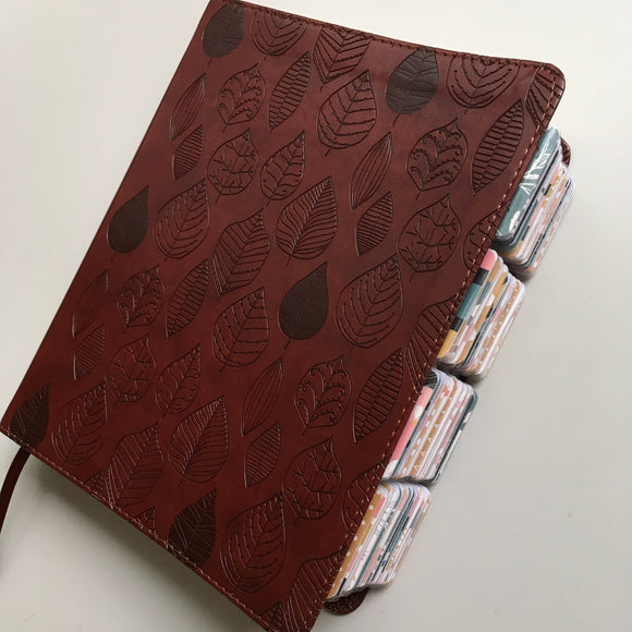 Chestnut Leaf Journaling Bible with Retro Tabs