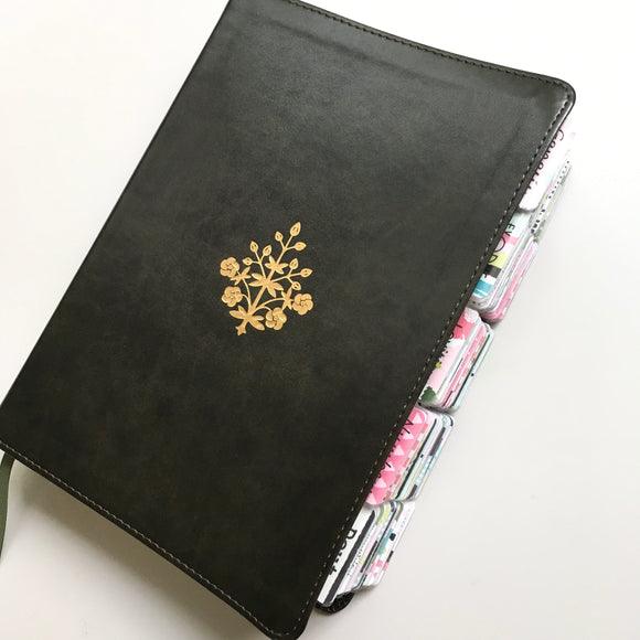 Large Print Olive with Gold Branch Journaling Bible with Bloom Tabs