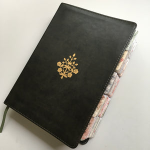Large Print Olive with Gold Branch Journaling Bible with Rustic Tabs