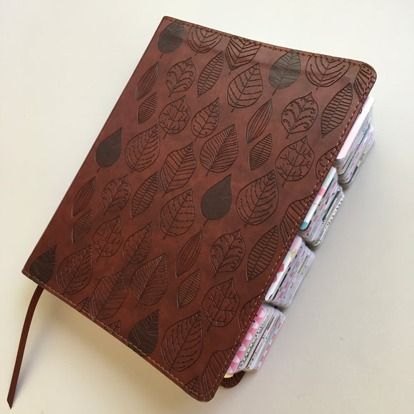 Chestnut Leaf Journaling Bible with Bloom Tabs