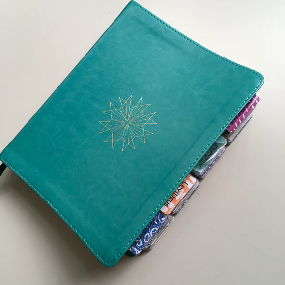 Teal and Gold Journaling Bible with Tropical Tabs