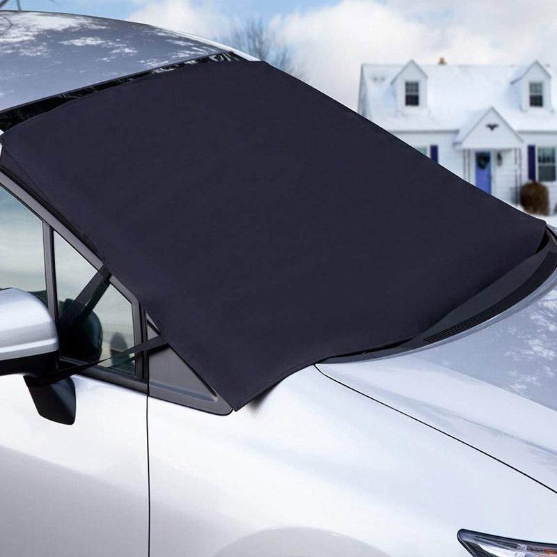 Car Windshield Snow Cover for Car Front Windscreen Ice Cover with Side Mirror Waterproof Anti-UV and Frost Guard 4-Layer Protection Half Car Cover with Hook Straps Fit Most SUV MPV (XXL Snow Cover)