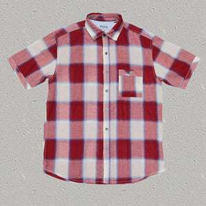 RUTHERFORD (Red ) - Woven Cotton Short Sleeve Shirt