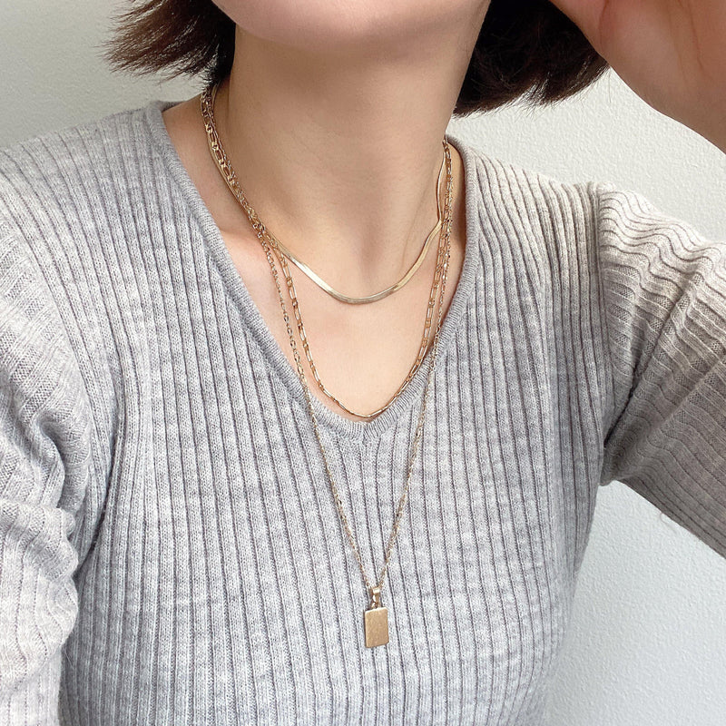 3 Layer Necklace with Rectangle Charm - Bauble Sky