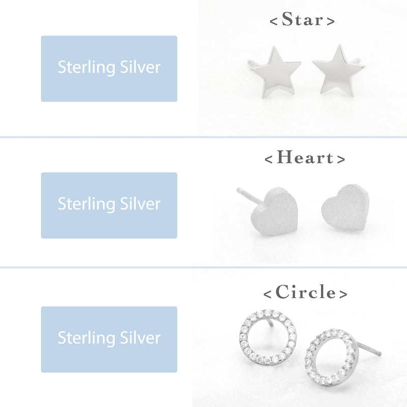 3 Pairs Earring Set-Star, Heart, Circle