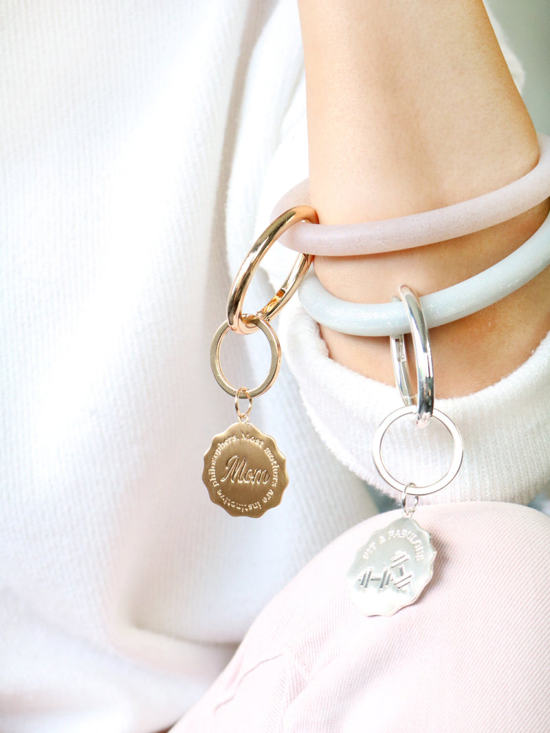 Personalized Silicone Key Ring Bracelet with Bar - Bauble Sky