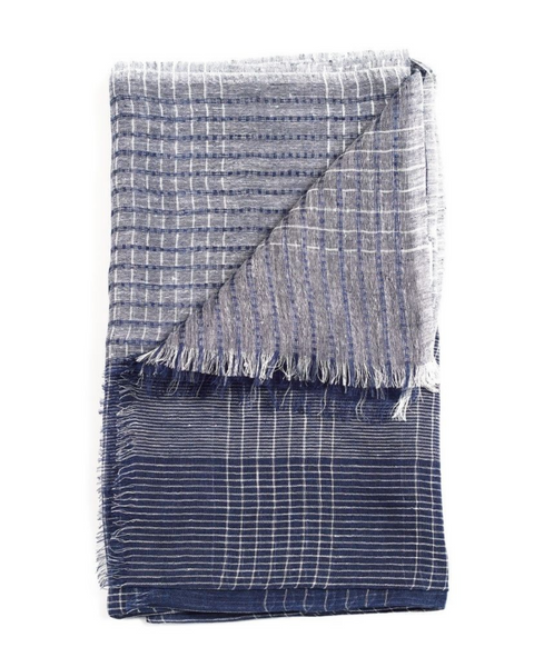 Navy Check Scarf for Men