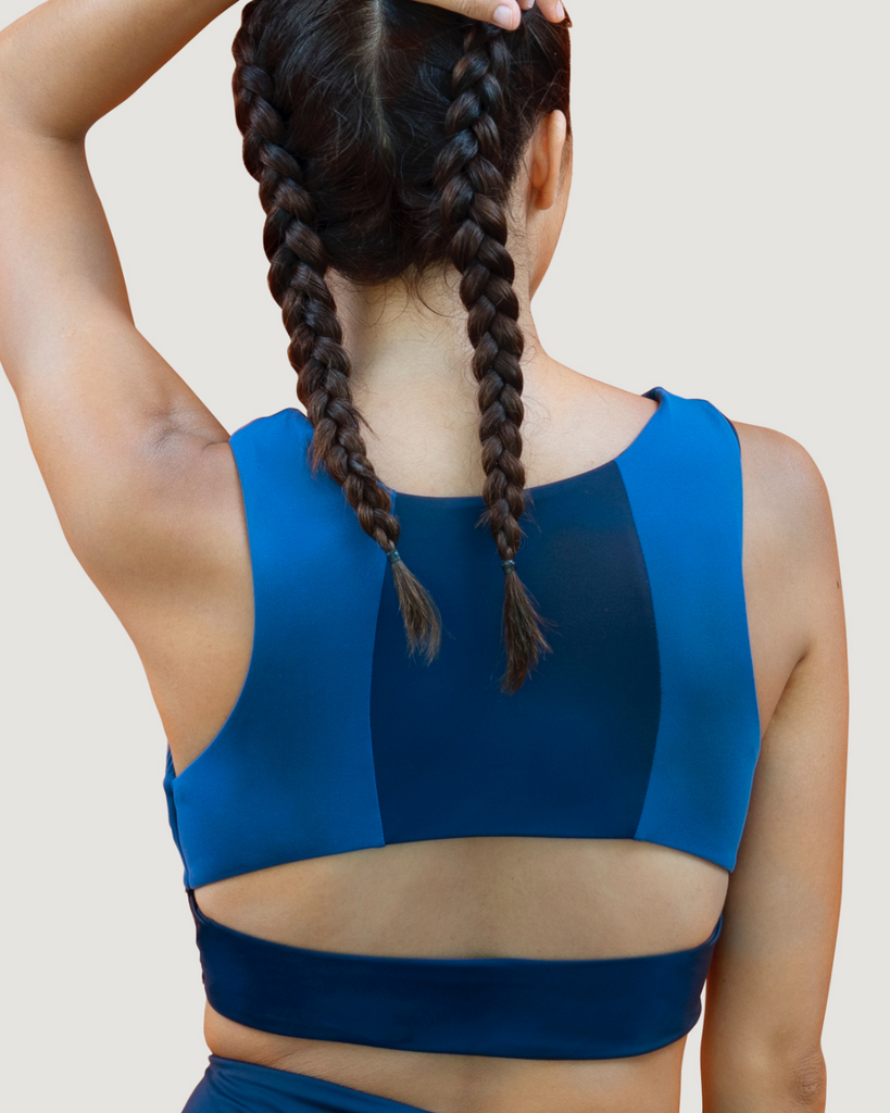 Navy Workout top sustainable luxury activewear