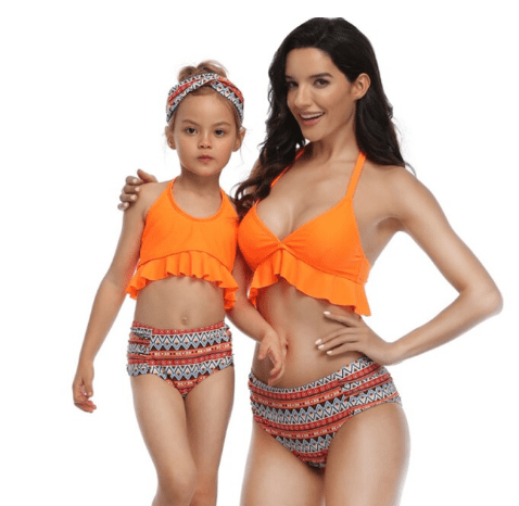 Maillot de bain mère fille orange