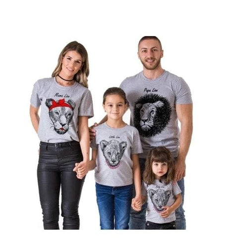 Tee shirt famille assorti lion gris