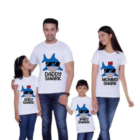 Tee shirt famille assorti requin