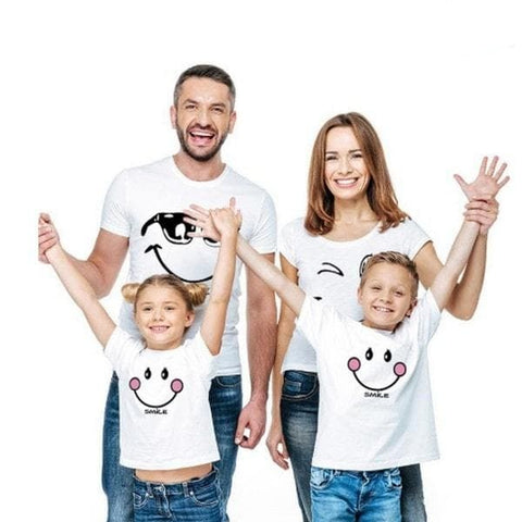 Tee shirt famille assorti smiley