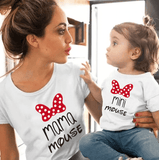 Tee shirt mère fille minnie mouse blanc