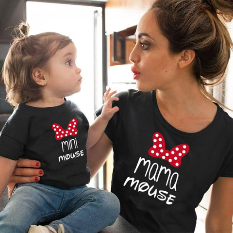 Tee shirt mère fille minnie mouse noir