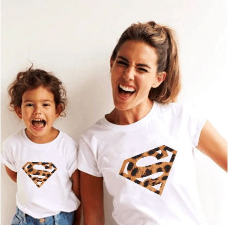 Tee shirt mère fille supergirl