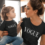 Tee shirt mère fille vogue noir